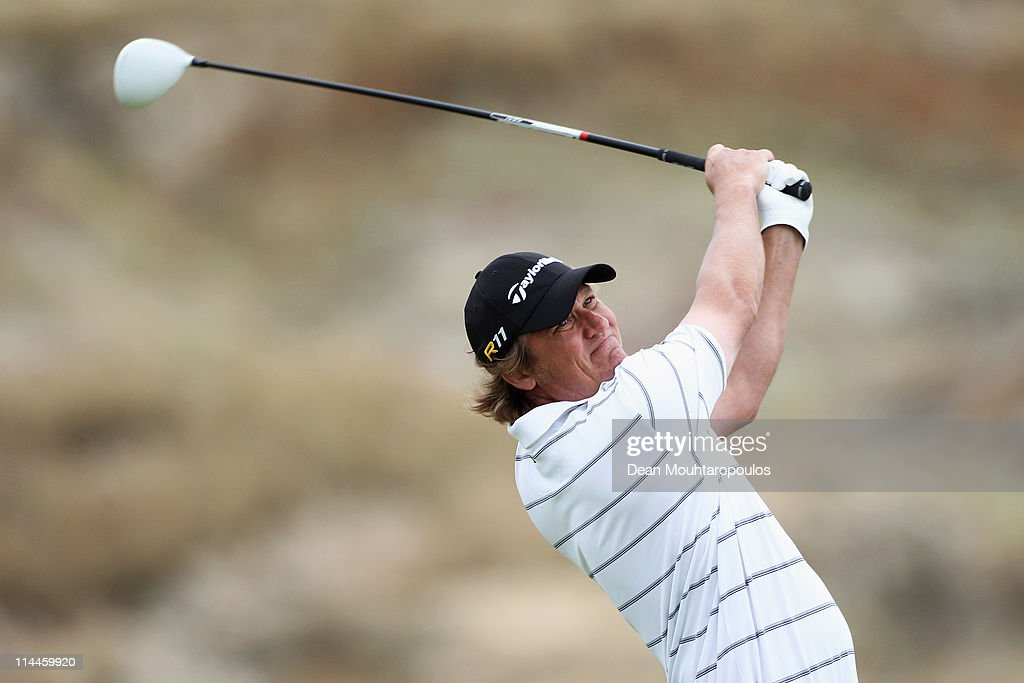 Jarmo Sandelin of Sweden hits his tee shot on the 4th hole during day two of the Madeira Islands Open on May 20 2011 in Porto Santo Island Portugal