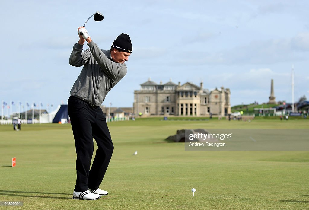 Jarmo Sandelin of Sweden hits his teeshot on the 18th hole during the first round of The Alfred Dunhill Links Championship at The Old Course on...