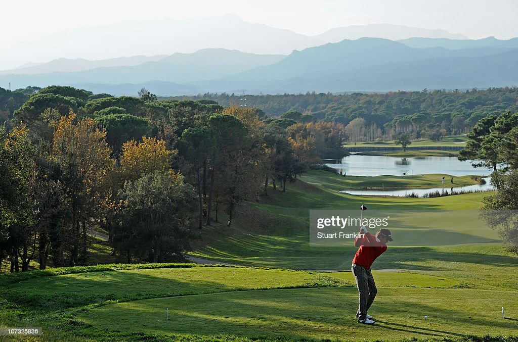 Jarmo Sandelin of Sweden in action during the first day of the European Tour qualifying school final stage at PGA golf de Catalunya on December 4...