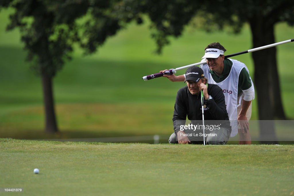 Jarmo Sandelin of Sweden lines his putt at the seventeenth hole during day two of the Vivendi cup at Joyenval Golf course on September 24 2010...