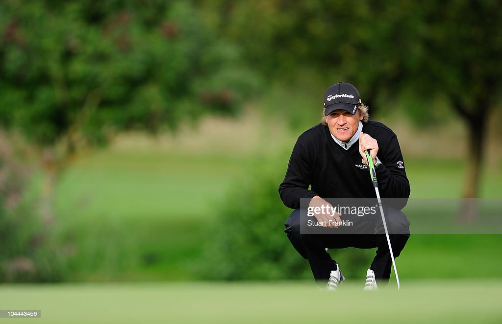 Jarmo Sandelin of Sweden lines up his putt on the 15th hole during the third round of the Vivendi cup at Golf de Joyenval on September 25 2010 in...