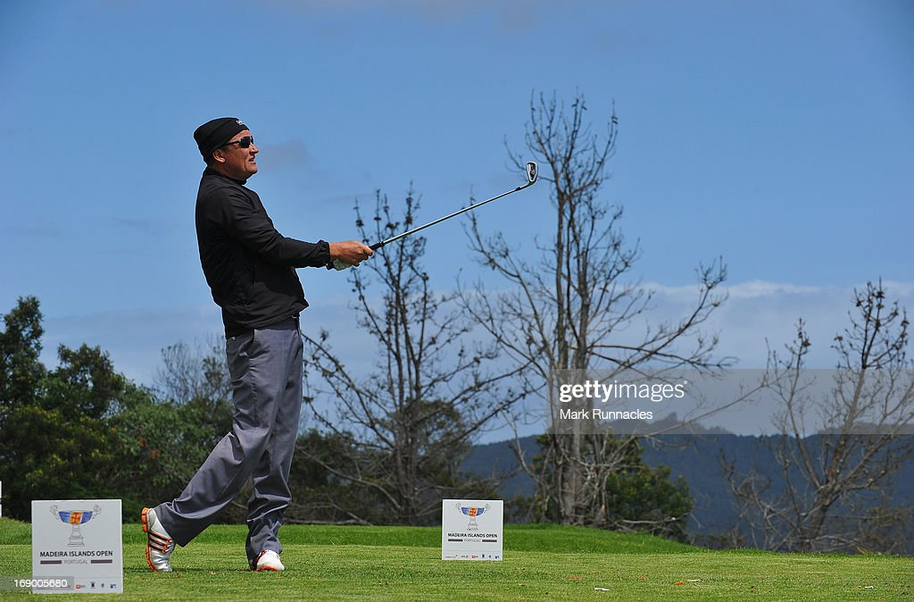 Jarmo Sandelin of Sweden on the 4th tee during Day Three of Madeira Islands Open Portugal BPI at Club de Golf do Santo da Serra on May 18 2013 in...