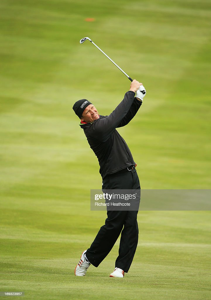 Jarmo Sandelin of Sweden plays a shot on the 4th hole during the first round of the BMW PGA Championship on the West Course at Wentworth on May 22...