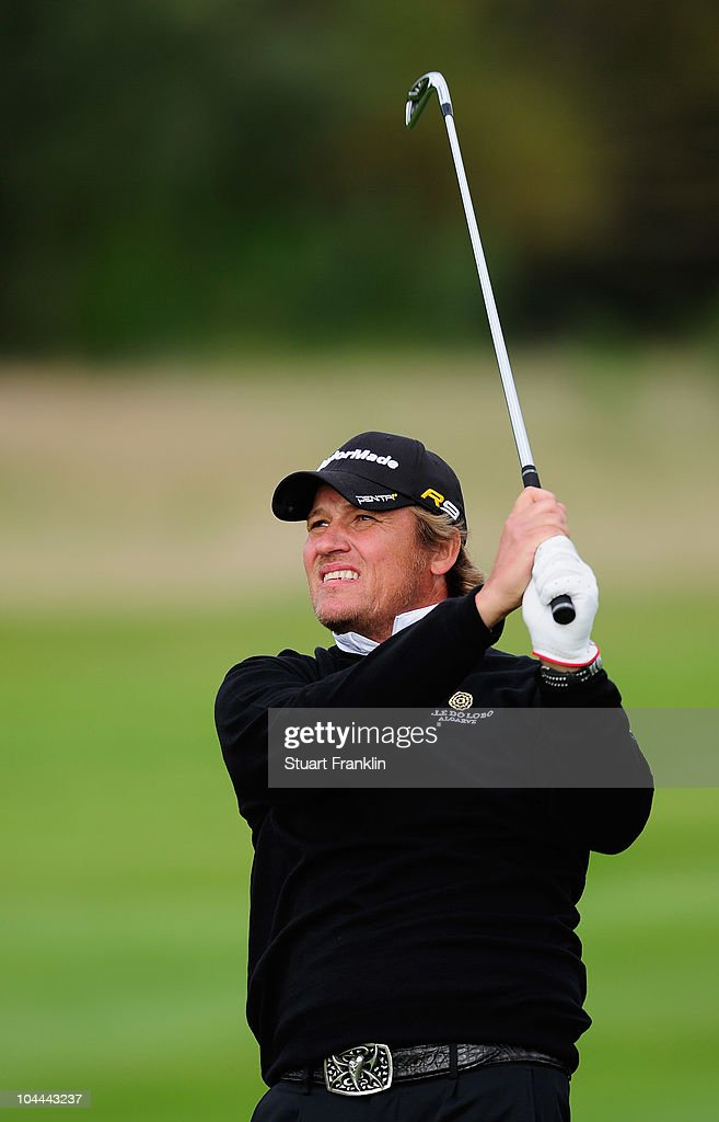 Jarmo Sandelin of Sweden plays his approach shot on the 15th hole during the third round of the Vivendi cup at Golf de Joyenval on September 25 2010...
