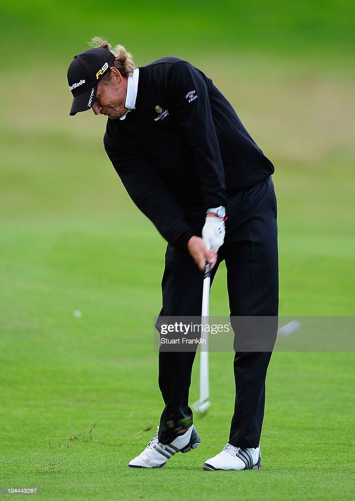 Jarmo Sandelin of Sweden plays his approach shot on the 18th hole during the third round of the Vivendi cup at Golf de Joyenval on September 25 2010...