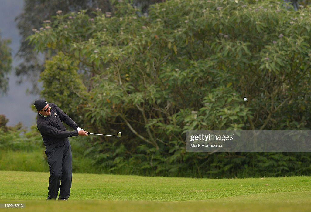 Jarmo Sandelin of Sweden plays his approach shot on the 2nd hole during Day Four of the Madeira Islands Open Portugal BPI at Club de Golf do Santo da...