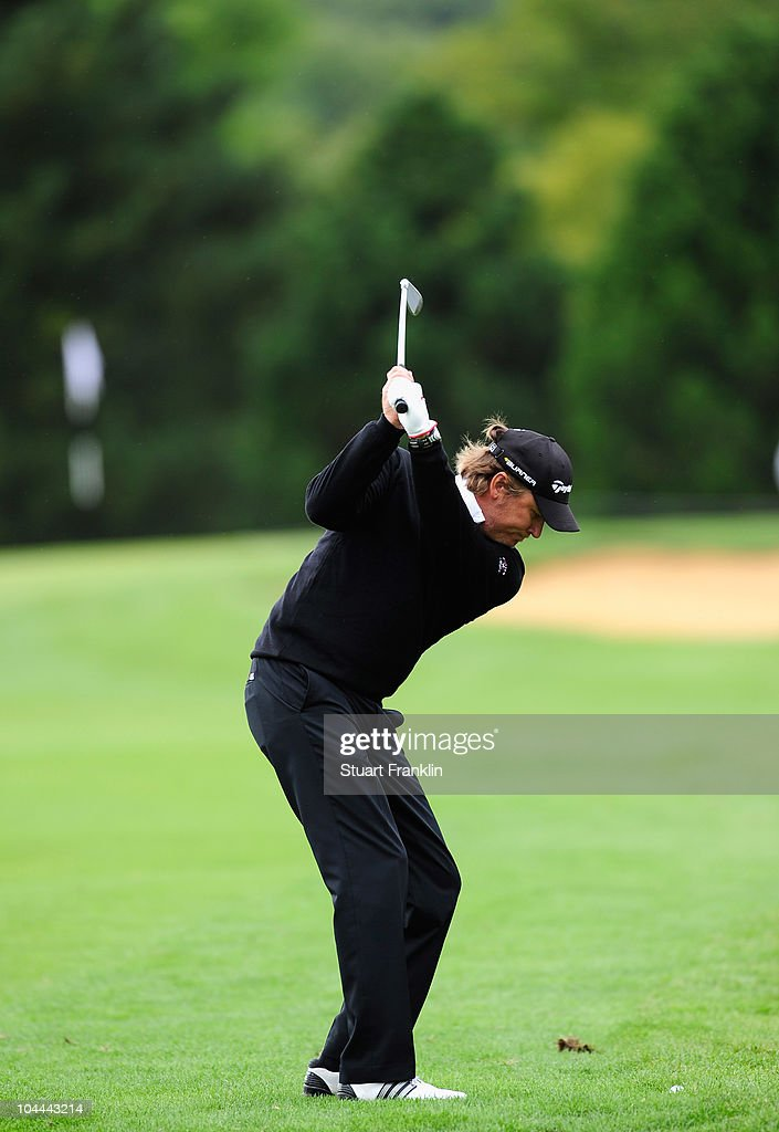 Jarmo Sandelin of Sweden plays his approach shot on the seventh hole during the third round of the Vivendi cup at Golf de Joyenval on September 25...