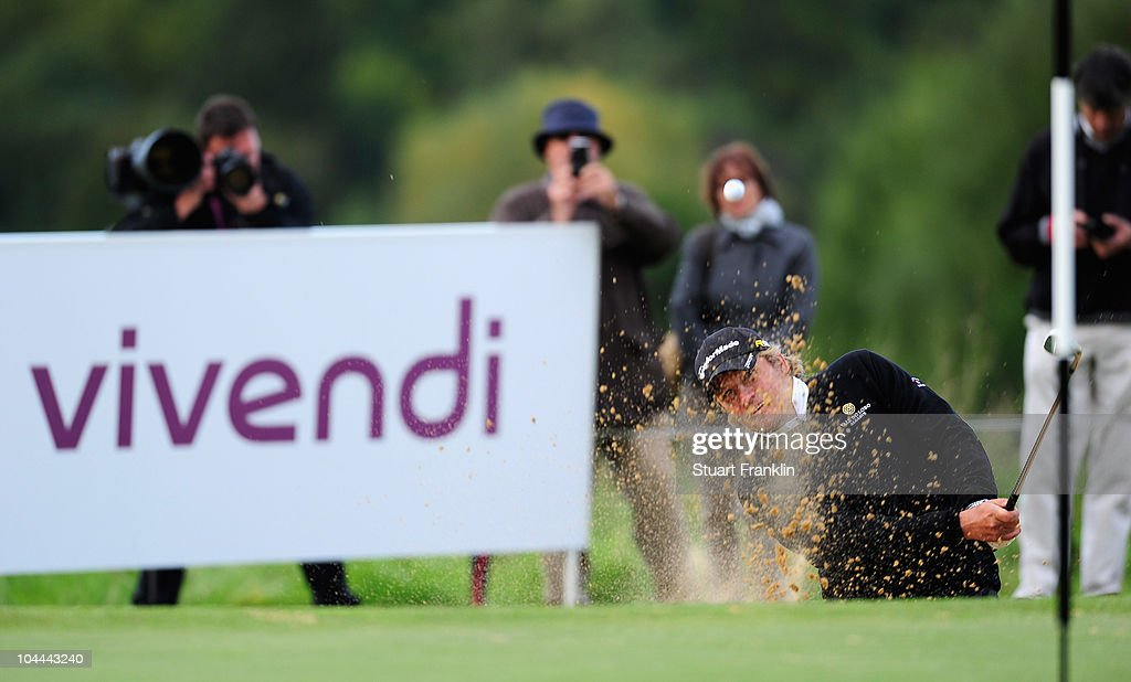 Jarmo Sandelin of Sweden plays his bunker shot on the 18th hole during the third round of the Vivendi cup at Golf de Joyenval on September 25 2010 in...