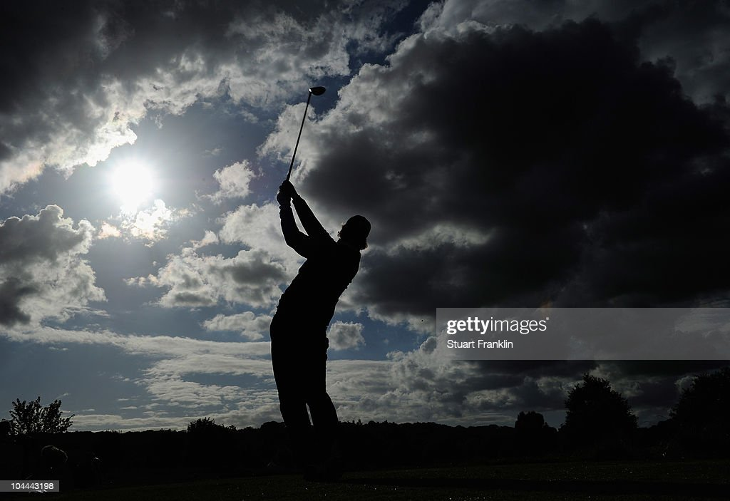 Jarmo Sandelin of Sweden plays his tee shot on the 15th hole during the third round of the Vivendi cup at Golf de Joyenval on September 25 2010 in...