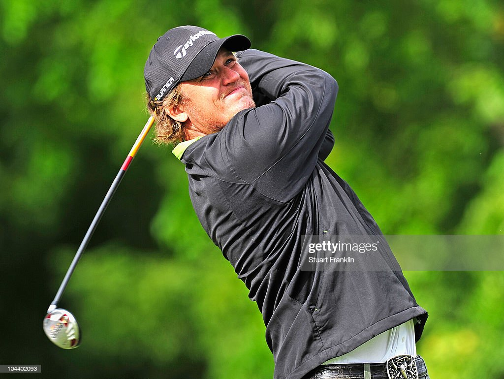 Jarmo Sandelin of Sweden plays his tee shot on the 17th hole during the second round of the Vivendi cup at Golf de Joyenval on September 24 2010 in...