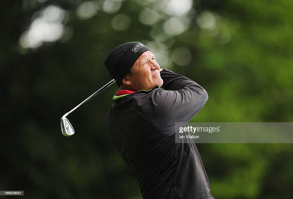 Jarmo Sandelin of Sweden plays his tee shot on the 2nd hole during the first round of the BMW PGA Championship on the West Course at Wentworth on May...