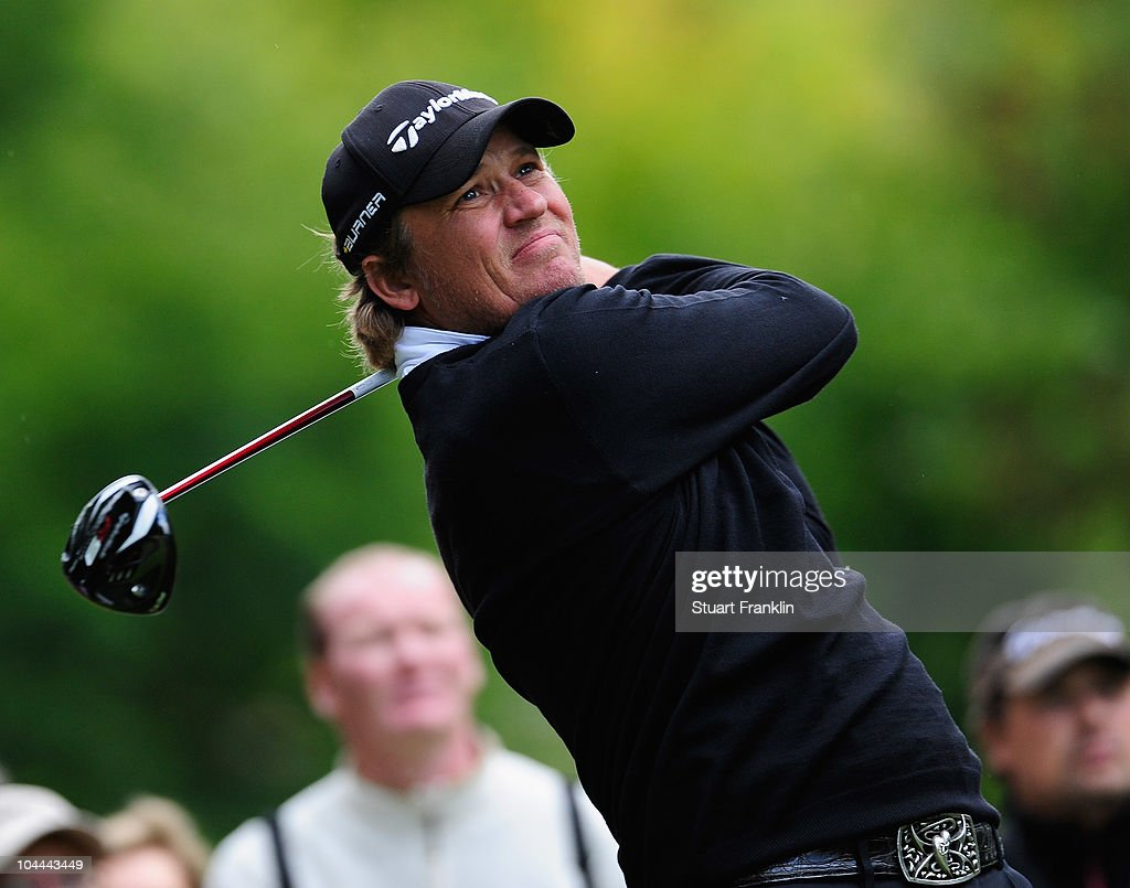 Jarmo Sandelin of Sweden plays his tee shot on the second hole during the third round of the Vivendi cup at Golf de Joyenval on September 25 2010 in...
