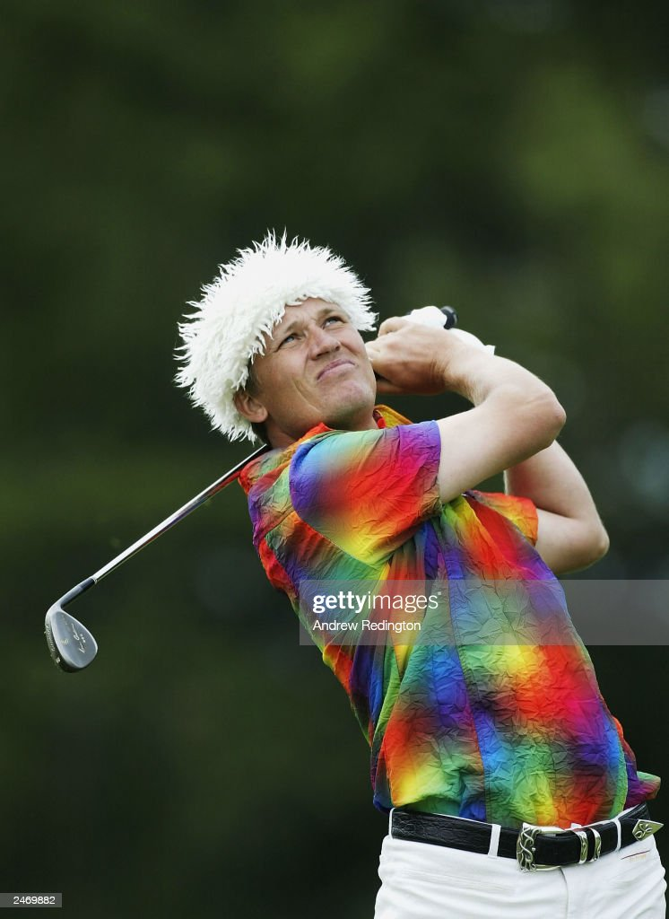 Jarmo Sandelin of Sweden plays the final round of the Omega European Masters on September 7 2003 at Crans sur Sierre Golf Club in Crans Montana...