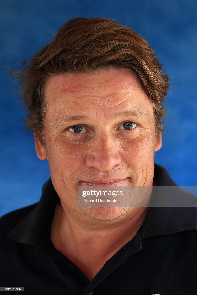 Jarmo Sandelin of Sweden poses for a portrait after the second round of the European Tour Qualifying School Finals at PGA Catalunya Resort on...