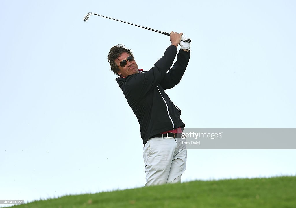 Jarmo Sandelin of Sweden tees off from the 1st hole during day two of the Madeira Islands Open Portugal BPI at Club de Golf do Santo da Serra on July...