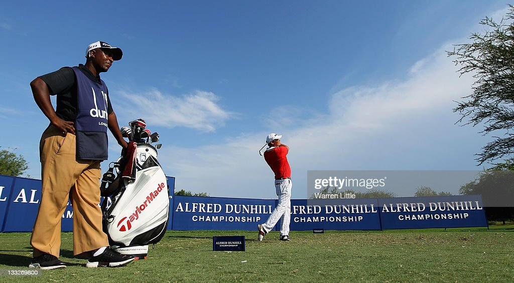 Jarmo Sandelin of Sweden tees off on the fifth hole during the second round of the Alfred Dunhill Championships at Leopard Creek Golf Club on...