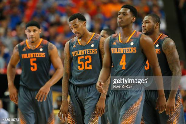 Jarnell Stokes Jordan McRae Armani Moore and Jeronne Maymon of the Tennessee Volunteers after a technical foul called against Maymon during the...