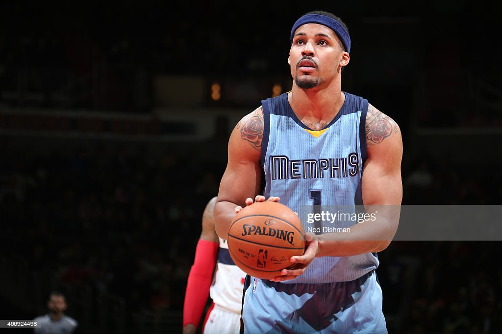 Jarnell Stokes #1 of the Memphis Grizzlies attempts a free throw against the Washington Wizards on March 12, 2015 at Verizon Center in Washington, DC.