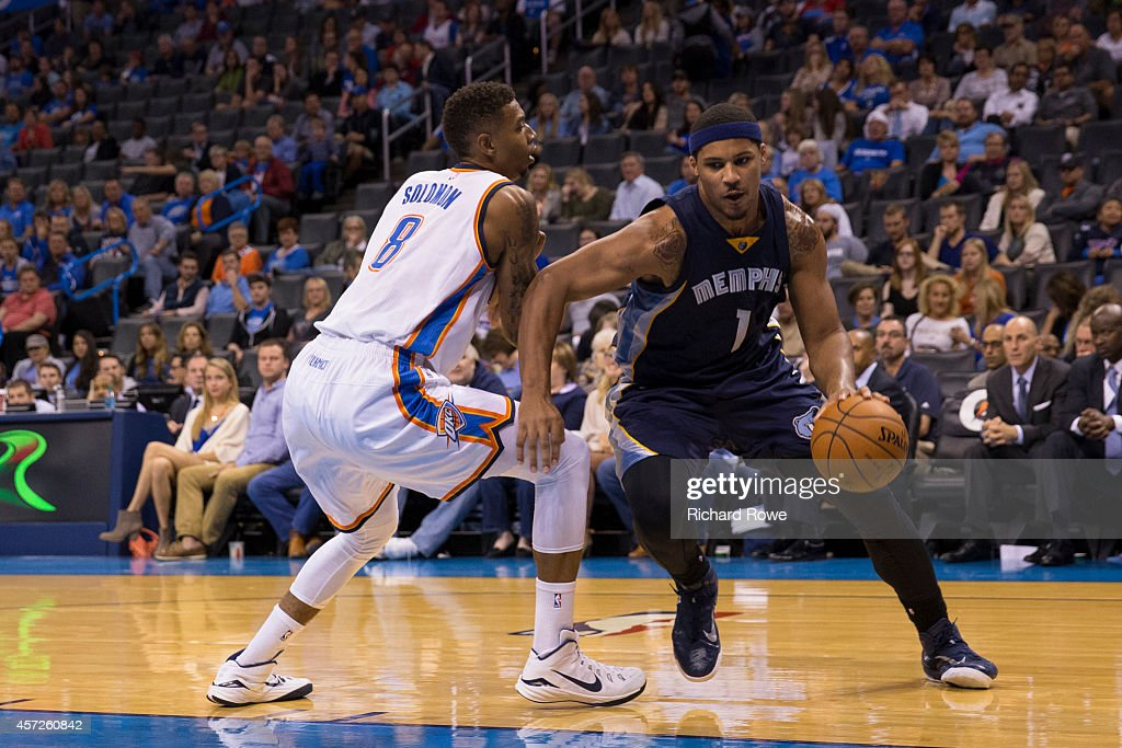 Jarnell Stokes #1 of the Memphis Grizzlies handles the ball against the Oklahoma City Thunder at the Chesapeak Energy Arena on October 14, 2014 in Oklahoma City, Oklahoma.