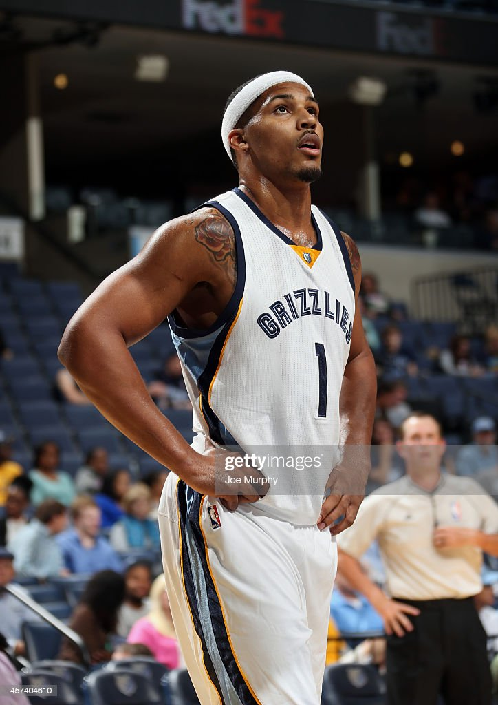 Jarnell Stokes #1 of the Memphis Grizzlies looks on during the game against Flamengo on October 17, 2014 at FedExForum in Memphis, Tennessee.