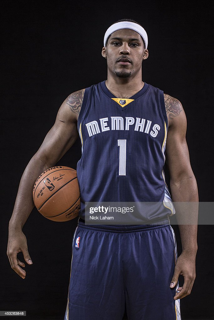 Jarnell Stokes #1 of the Memphis Grizzlies poses for a portrait during the 2014 NBA rookie photo shoot at MSG Training Center on August 3, 2014 in Tarrytown, New York.