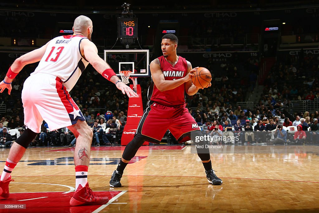 Jarnell Stokes #12 of the Miami Heat handles the ball during the game against the Washington Wizards on January 20, 2016 at Verizon Center in Washington, DC.