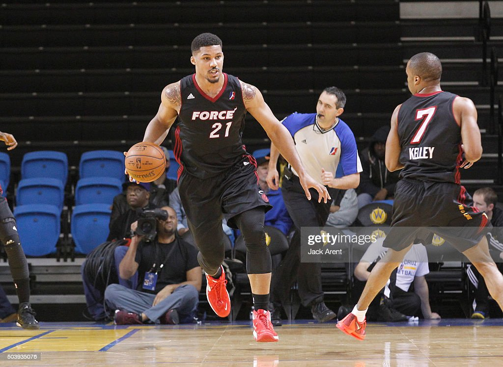 Jarnell Stokes #21 of the Sioux Falls Skyforce dribbles the ball against the Raptors 905 during the 2016 NBA D-League Showcase presented by SAMSUNG on January 7, 2016 at Kaiser Permanente Arena in Santa Cruz, California.