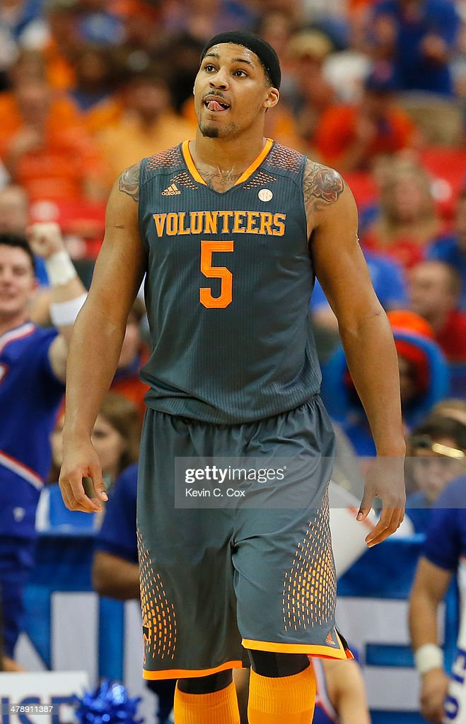 <a gi-track='captionPersonalityLinkClicked' href=/galleries/search?phrase=Jarnell+Stokes&family=editorial&specificpeople=8795785 ng-click='$event.stopPropagation()'>Jarnell Stokes</a> #5 of the Tennessee Volunteers reacts to a play by the Florida Gators during the semifinals of the SEC Men's Basketball Tournament at Georgia Dome on March 15, 2014 in Atlanta, Georgia.