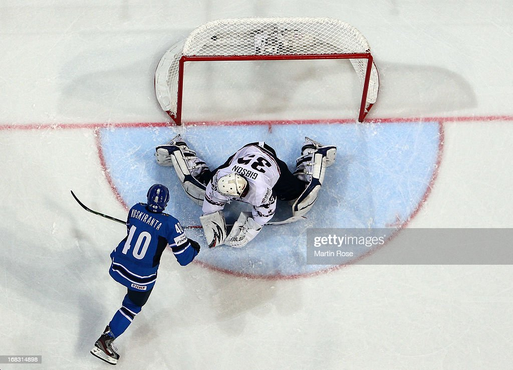 Jarno Koskiranta (#40) of Finland scores his team's opening goal during the IIHF World Championship group H match between USA and Finland at Hartwall Areena on May 8, 2013 in Helsinki, Finland.