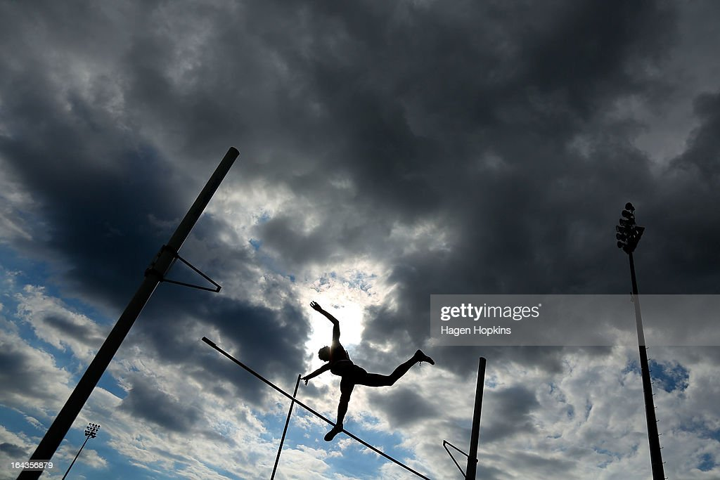 Jarno Plenter of Canterbury competes in the men's senior pole vault during the New Zealand Track and Field Championships at Mt Smart Stadium on March 23, 2013 in Auckland, New Zealand.