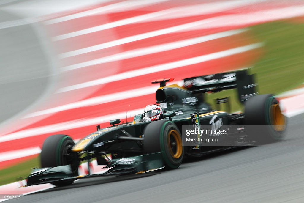 Jarno Trulli of Italy and Lotus drives during practice for the Spanish Formula One Grand Prix at the Circuit de Catalunya on May 7, 2010 in Barcelona, Spain.