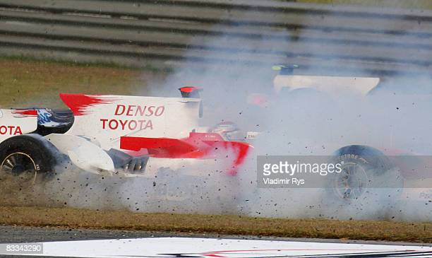 Jarno Trulli of Italy and Toyota spins at the start of the Chinese Formula One Grand Prix at the Shanghai International Circuit on October 19 2008 in...
