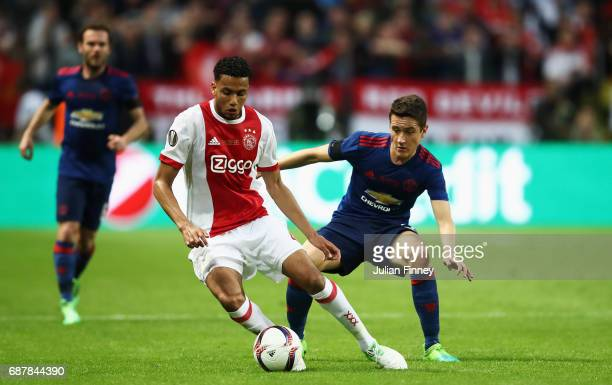 Jaïro Riedewald of Ajax and Ander Herrera of Manchester United in action during the UEFA Europa League Final between Ajax and Manchester United at...