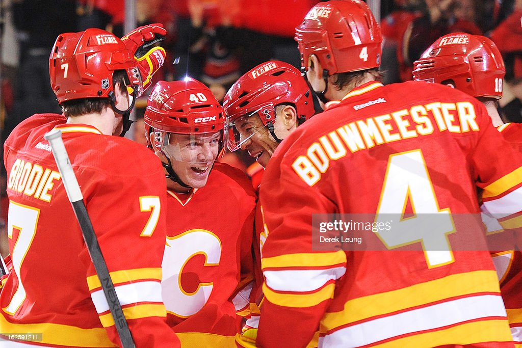 <a gi-track='captionPersonalityLinkClicked' href=/galleries/search?phrase=Jarome+Iginla&family=editorial&specificpeople=201792 ng-click='$event.stopPropagation()'>Jarome Iginla</a> #12 of the Calgary Flames celebrates after scoring against the Phoenix Coyotes during an NHL game at Scotiabank Saddledome on February 24, 2013 in Calgary, Alberta, Canada.