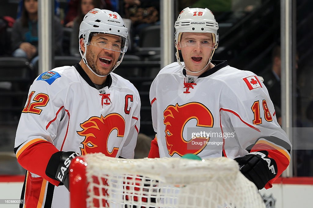 <a gi-track='captionPersonalityLinkClicked' href=/galleries/search?phrase=Jarome+Iginla&family=editorial&specificpeople=201792 ng-click='$event.stopPropagation()'>Jarome Iginla</a> #12 of the Calgary Flames celebrates his goal with Matt Stajan #18 of the Calgary Flames to give the Flames a 3-0 lead over the Colorado Avalanche in the first period at the Pepsi Center on February 28, 2013 in Denver, Colorado.