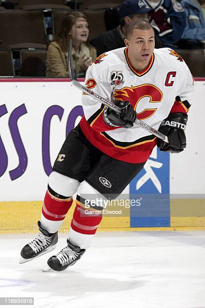 Jarome Iginla of the Calgary Flames prior to the game against the Colorado Avalanche on January 24 2006 at the Pepsi Center in Denver Colorado