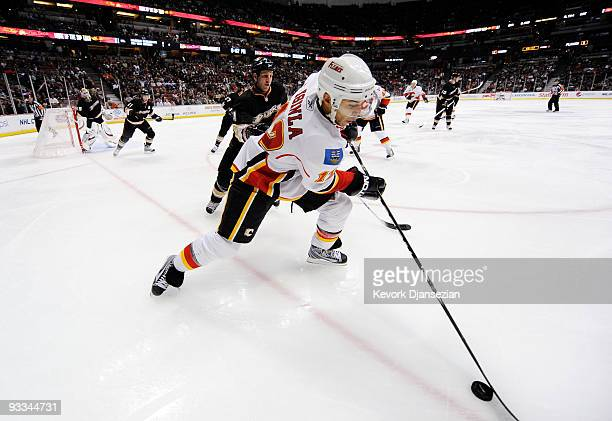 Jarome Iginla of the Calgary Flames skates against the Anaheim Ducks during the second period of the NHL game at the Honda Center on November 23 2009...