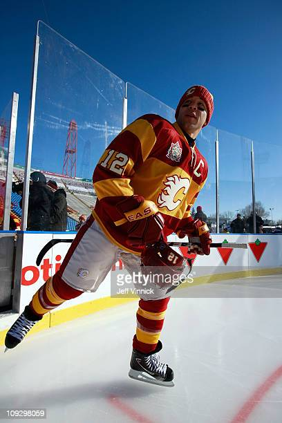Jarome Iginla of the Calgary Flames skates onto the ice during practice for the 2011 Tim Hortons Heritage Classic at McMahon Stadium on February 19...