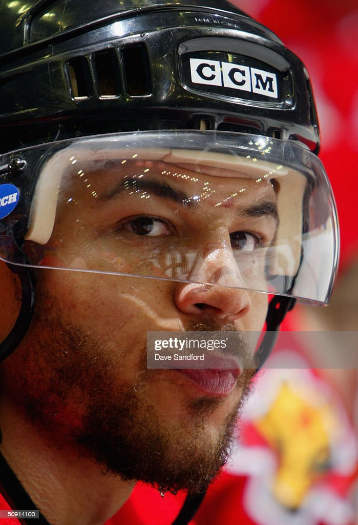 Jarome Iginla #12 of the Calgary Flames watches from the bench in the fourth quarter against the Tampa Bay Lightning in game four of the NHL Stanley Cup Finals on May 31, 2004 at the Pengrowth Saddledome in Calgary, Canada. The Lightning defeated the Flames 1-0.