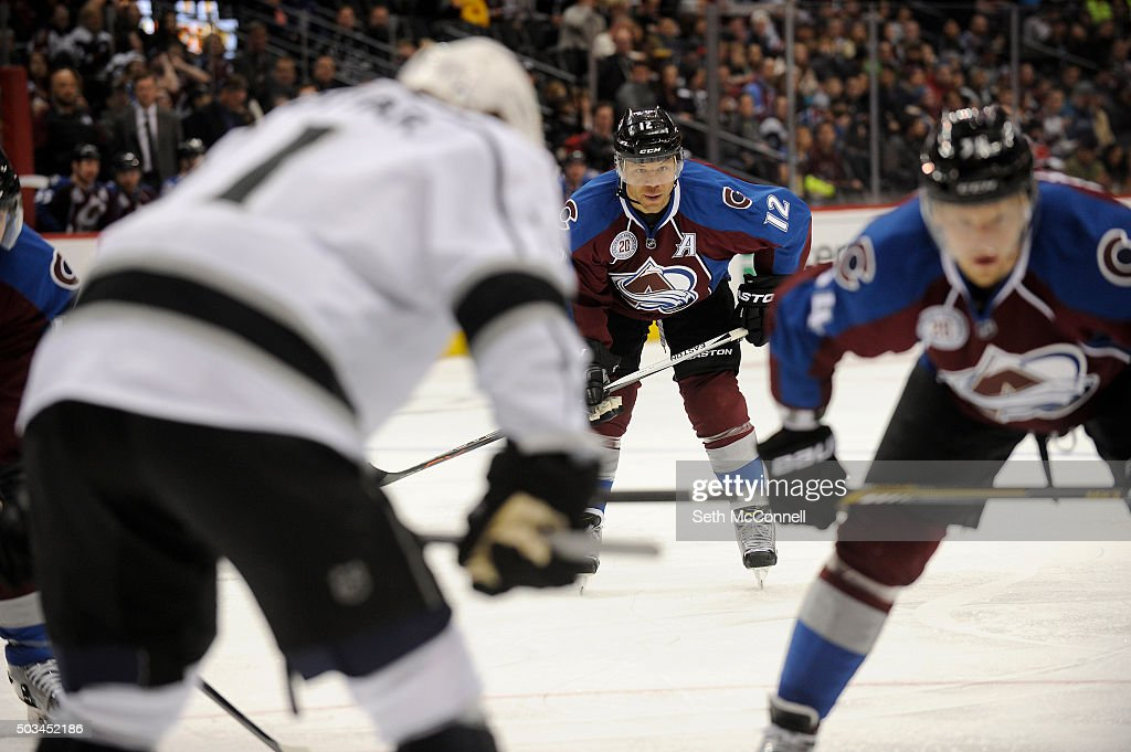 Jarome Iginla (12) of the Colorado Avalanche waits for the puck drop during the 1st period at the Pepsi Center in Denver, Colorado on January 4, 2016.