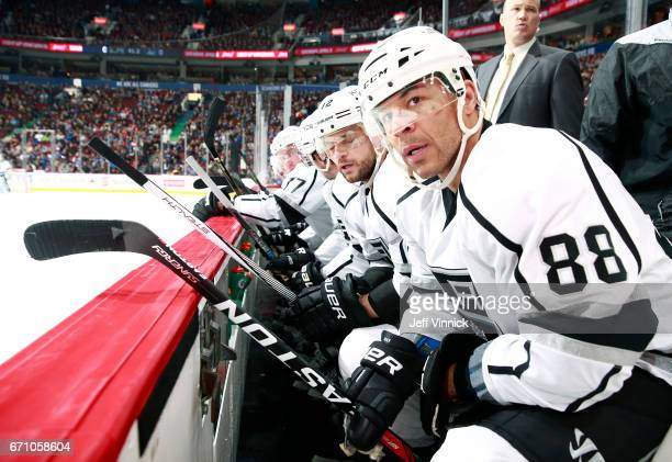 Jarome Iginla of the Los Angeles Kings looks on from the bench during their NHL game against the Vancouver Canucks at Rogers Arena March 31 2017 in...