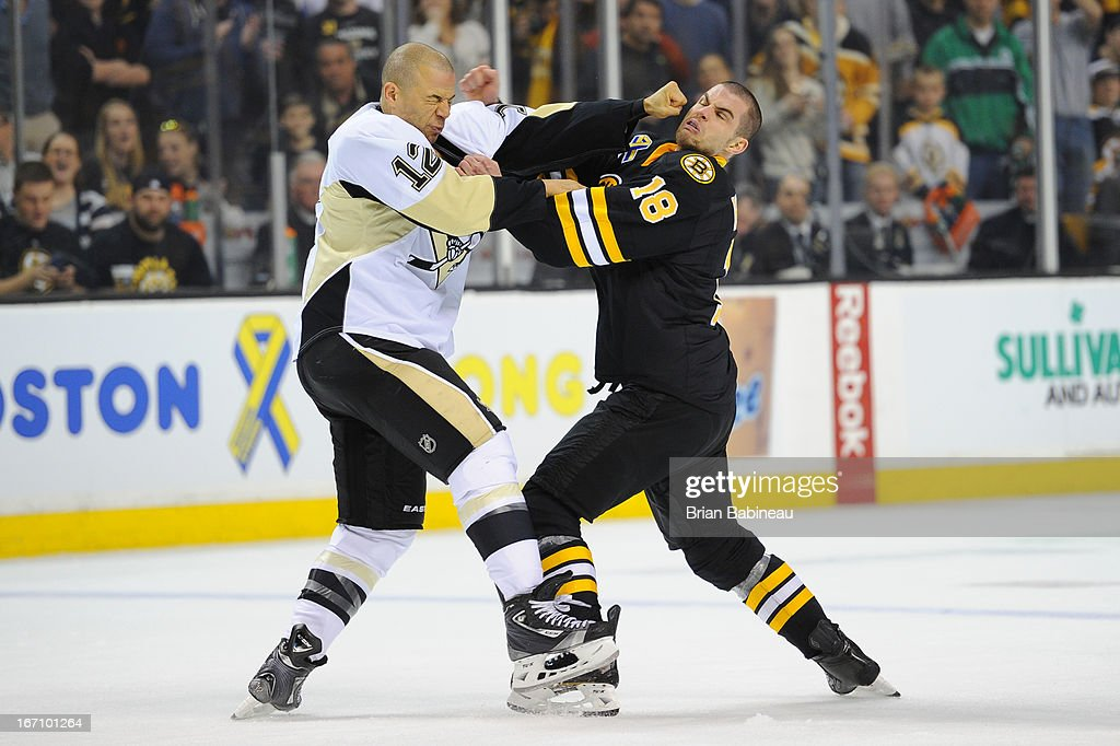 Jarome Iginla #12 of the Pittsburgh Penguins fights against Nathan Horton #18 of the Boston Bruins at the TD Garden on April 20, 2013 in Boston, Massachusetts.