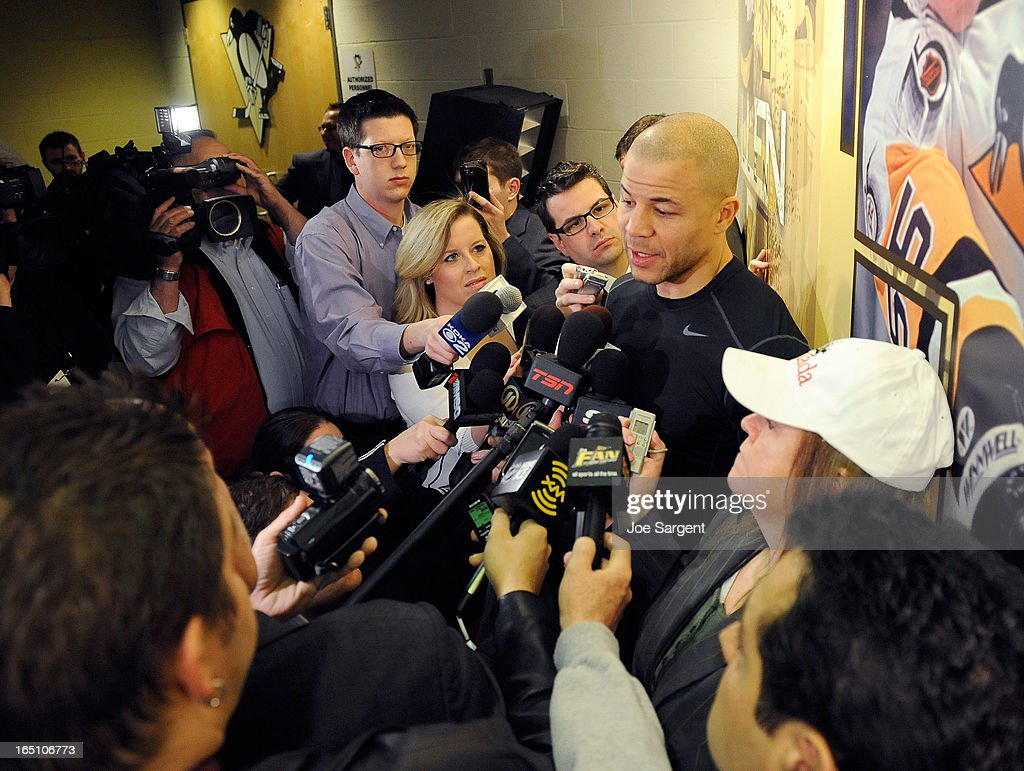 Jarome Iginla #12 of the Pittsburgh Penguins talks with the media for the first time prior to the game against the New York Islanders on March 30, 2013 at Consol Energy Center in Pittsburgh, Pennsylvania.
