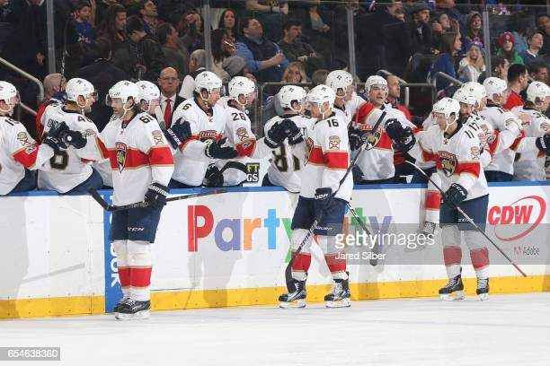 Jaromir Jagr Aleksander Barkov and Jonathan Huberdeau of the Florida Panthers celebrate after a goal in the third period against the New York Rangers...