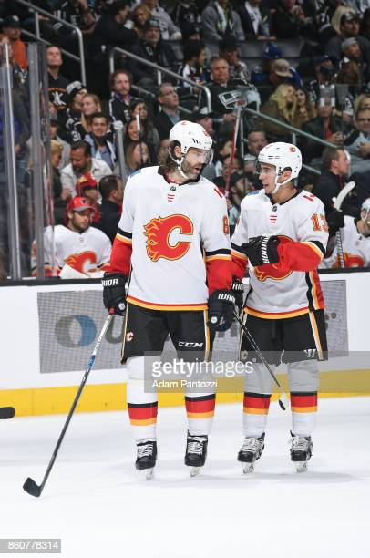 Jaromir Jagr and Johnny Gaudreau of the Calgary Flames converse during a game against the Los Angeles Kings at STAPLES Center on October 11 2017 in...