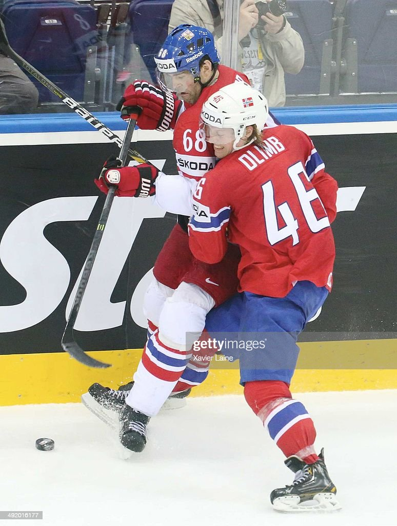Jaromir Jagr #68 of Czech Republic and <a gi-track='captionPersonalityLinkClicked' href=/galleries/search?phrase=Mathis+Olimb&family=editorial&specificpeople=2288763 ng-click='$event.stopPropagation()'>Mathis Olimb</a> #46 of Norway in action during the 2014 IIHF World Championship between Czech Republic and Norway at Chizhovka arena ,on May 18, 2014 in Minsk, Belarus.