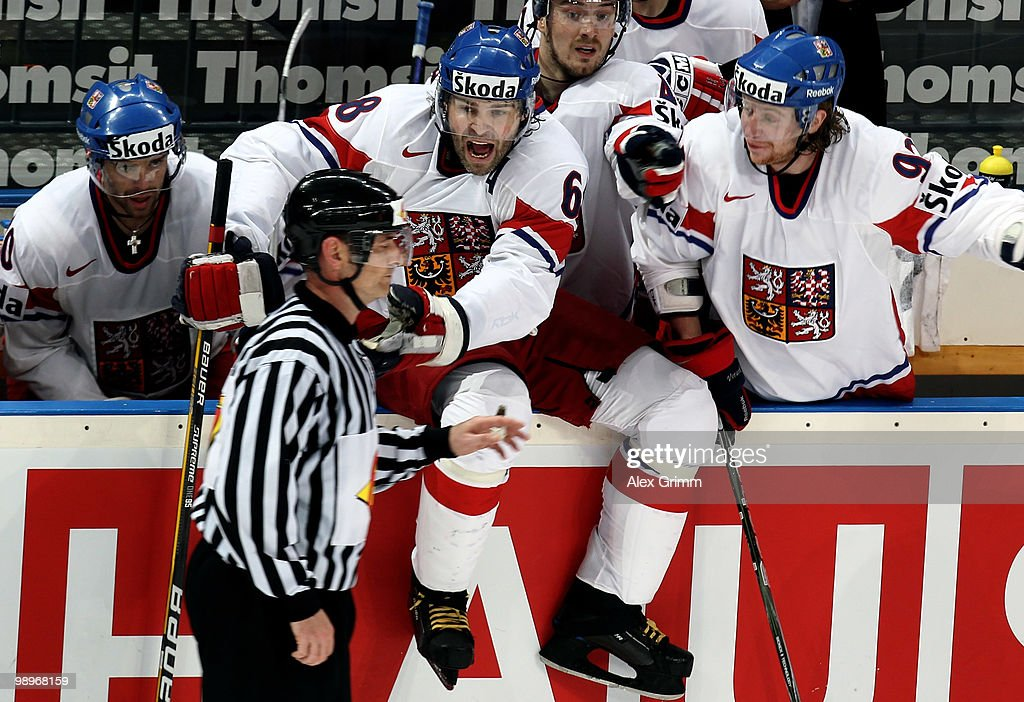 Jaromir Jagr of Czech Republic and team mates argue with the referee during the IIHF World Championship group C match between Czech Republic and...