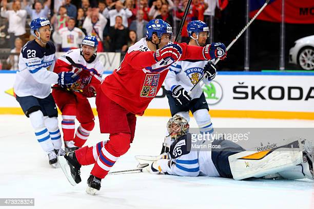 Jaromir Jagr of Czech Republic celebrates after he scores his team's equalizing goal during the IIHF World Championship quarter final match between...