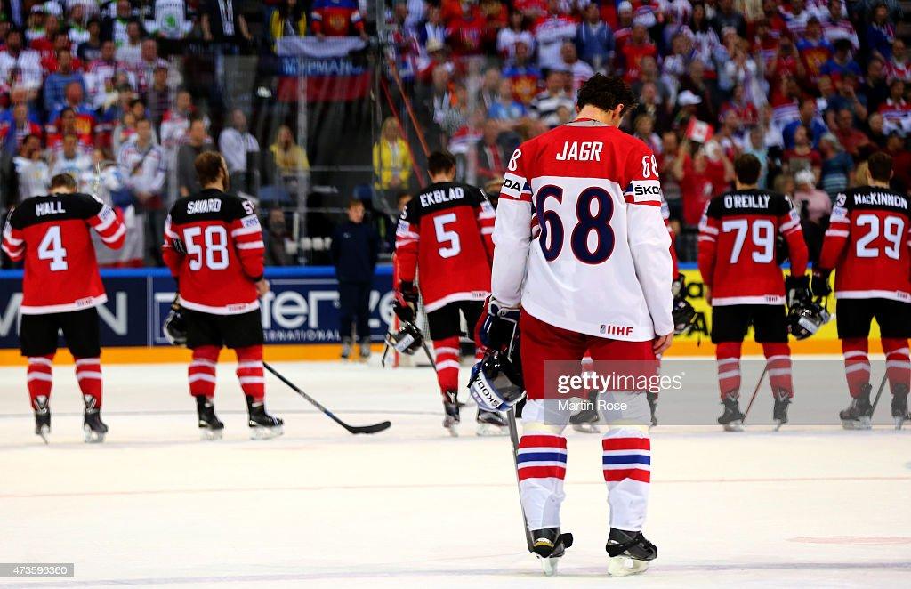 Jaromir Jagr #68 of Czech Republic looks dejected after the IIHF World Championship semi final match between Canada and Czech Republic at O2 Arena on May 16, 2015 in Prague, Czech Republic.