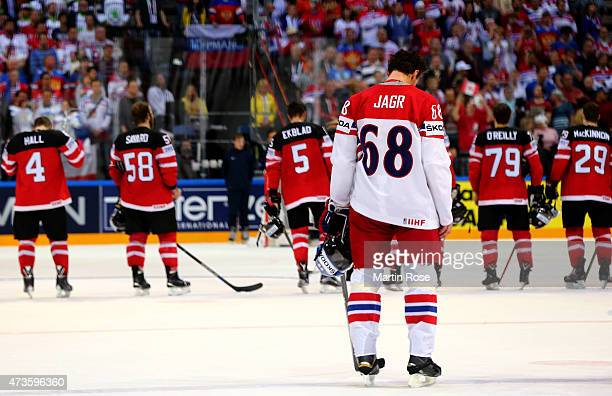 Jaromir Jagr of Czech Republic looks dejected after the IIHF World Championship semi final match between Canada and Czech Republic at O2 Arena on May...